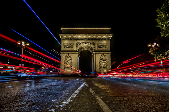 Best places to take pictures in Paris - Circulation-de-l'arc-de-triomphe. Taken with a Canon 6D and Rokinon 24mm f/1.4