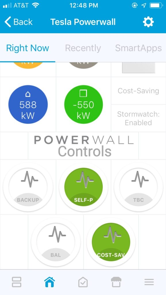 Tesla PowerWall SmartThings Control